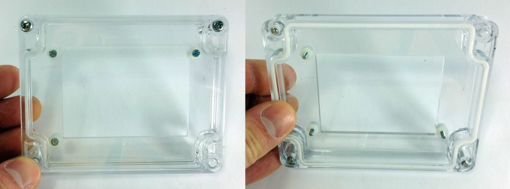 Case top with hardware on front and back. Steel M2.5 8mm screws, washers on either side, with a nut on the underside.