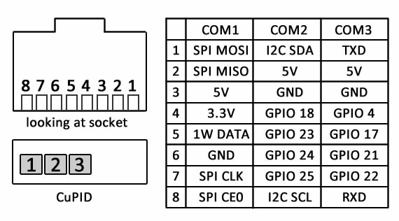 CuPID IO listing for RJ45 ports. COM2 and COM3 each have four GPIO. The output unit has an internal DIP selector to choose which to use for control.