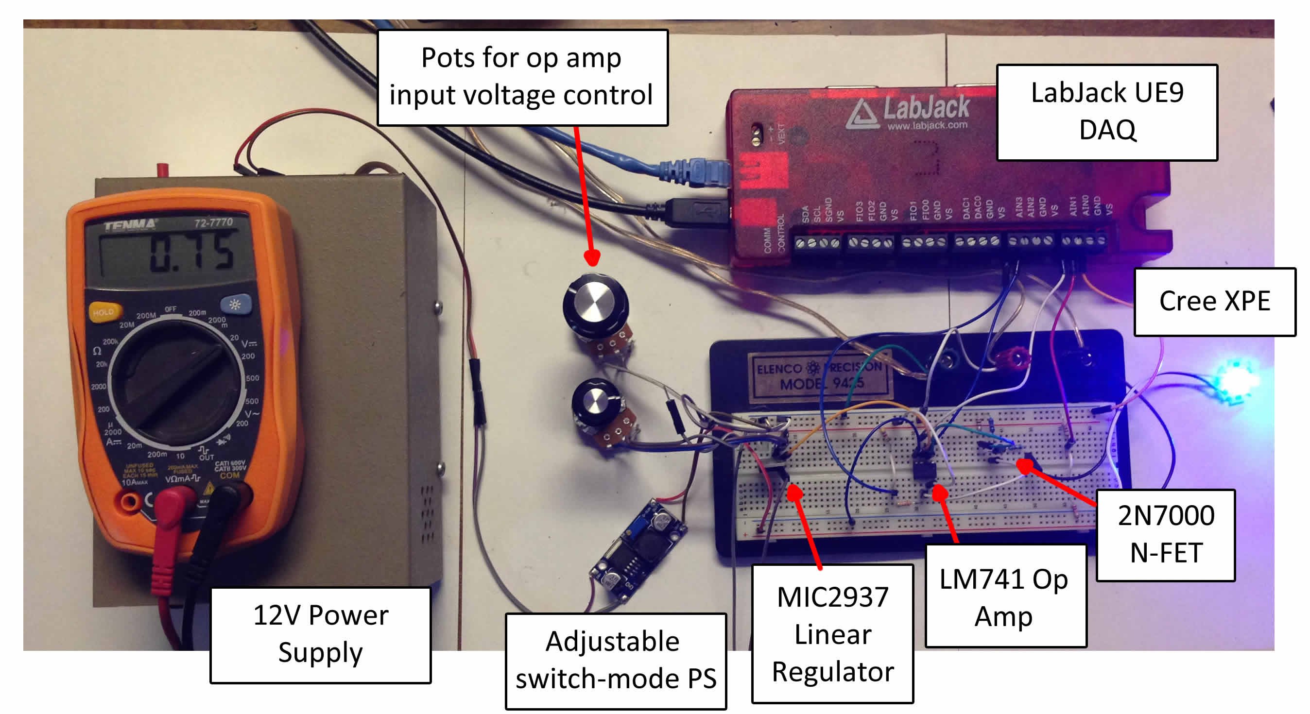 August 2014 Cupid Controls Simple Fire Alarm Circuits Using Germanium Diode And Lm341 At Low Cost Our Test Setup With The Important Bits Labeled