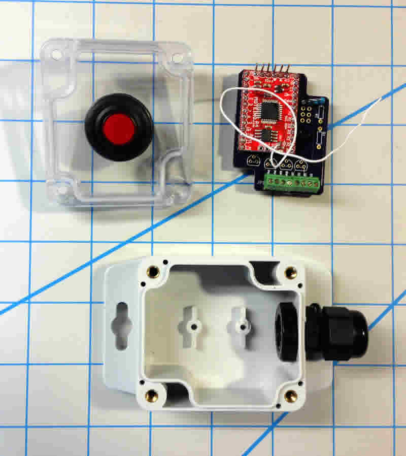 Components for our RF button remote.