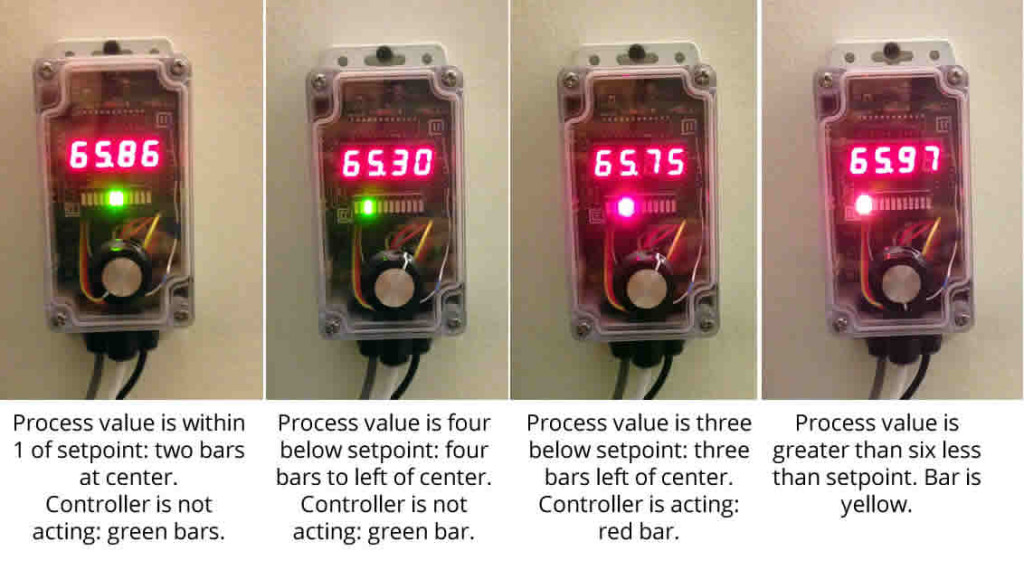 Demonstration of several controller display modes. The bar display indicates process value relative to setpoint, as well as the action condition.